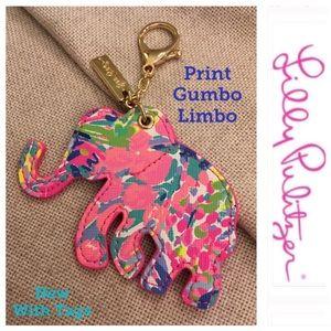 L. Pulitzer Elephant Critter Keychain Gumbo Limbo